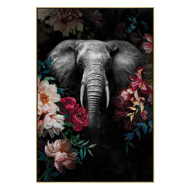 """"""" Eléphant jungle """", Tableau contemporain exotique,80x120 cm"""
