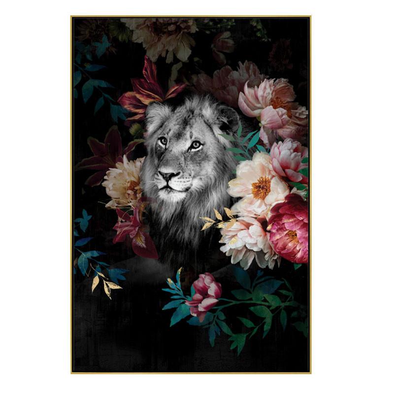 """"""" Lion jungle """", Tableau contemporain exotique,80x120 cm"""