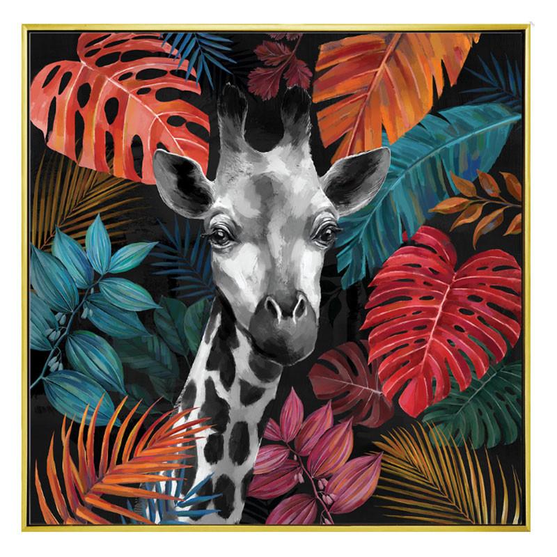 """"""" Girafe jungle """", Tableau contemporain exotique,100x100"""