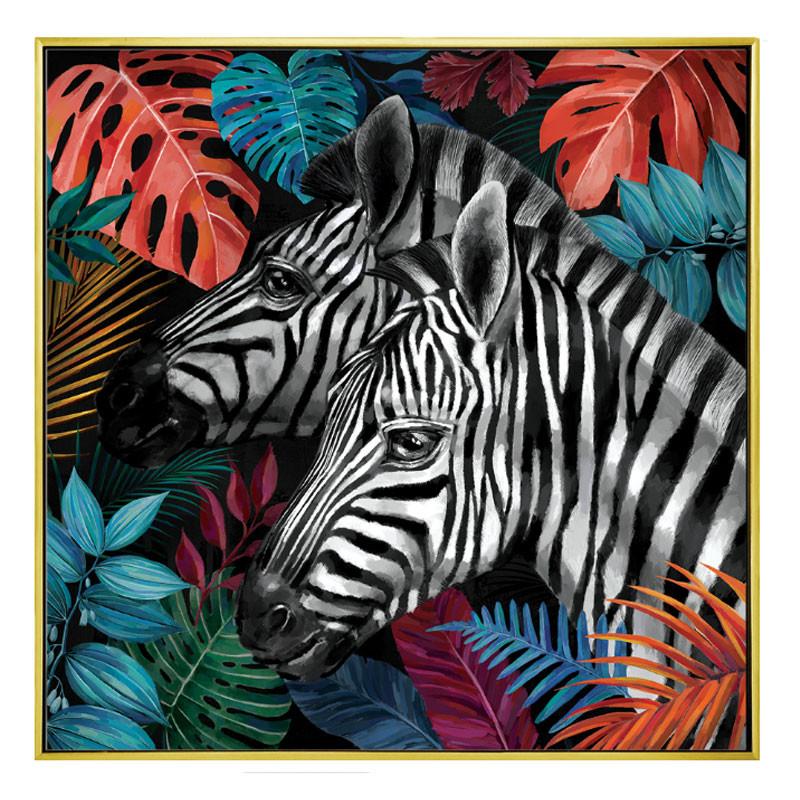 """"""" Zèbres jungle """", Tableau contemporain exotique,100x100"""