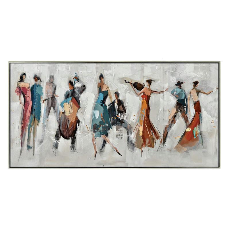 """"""" Soirée musicale dansante """", tableau contemporain musique 70x140 cm"""