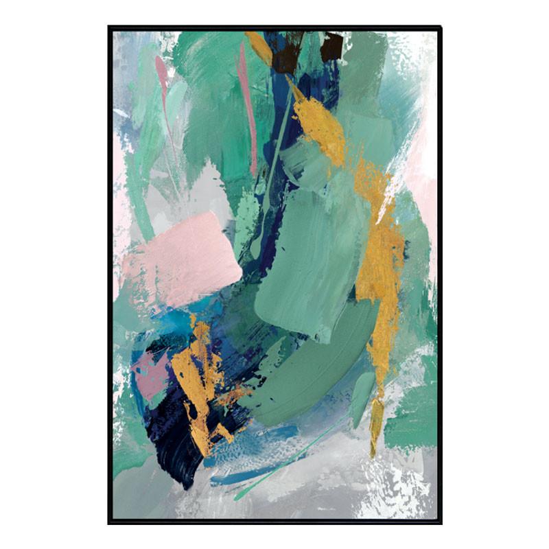 """"""" Vert en cascade """", tableau design abstrait,80x120 cm"""