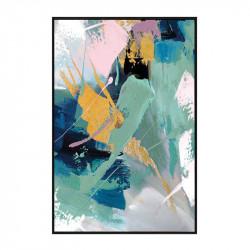 """"""" Effusion de vert"""", tableau design abstrait, 60x80 cm"""
