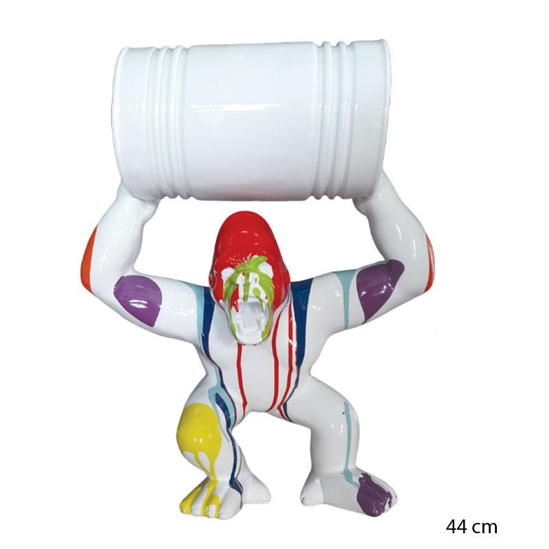 """Gorille baril, blanc trash, Donkey kong"", statuette design, 44 cm"