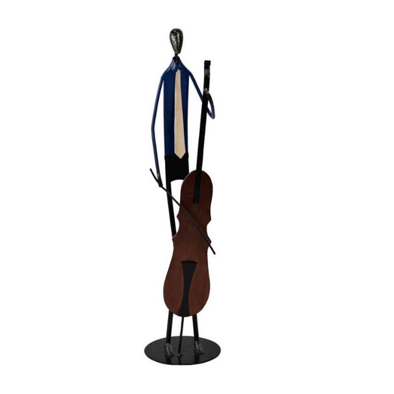 """"""" Le violoncelliste """", statuette design en métal à poser"""