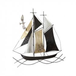 """"""" Voilier stylisé et mouette """",déco murale métal thème marin"""