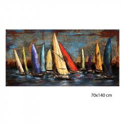 """"""" Course de voiliers"""", Tableau métal vintage 3D,70x140 cm"""
