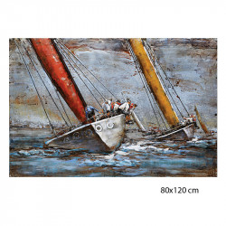 """"""" Régate et skippers"""", tableau métal vintage 3d,80x120 cm"""
