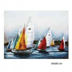 """""""Invitation en mer"""", Tableau métal vintage 3D, 60x80 cm"""