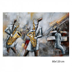 """"""" Ambiance Jazz """", Tableau métal vintage 3D, 80x120 cm"""