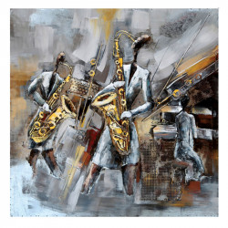 """"""" Concert de Jazz"""", tableau métal vintage 3D, 100x100 cm"""