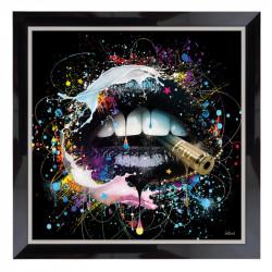 """"""" BOUCHE LOVE noire """",Tableau design Sylvain Binet, 80x8 0cm"""