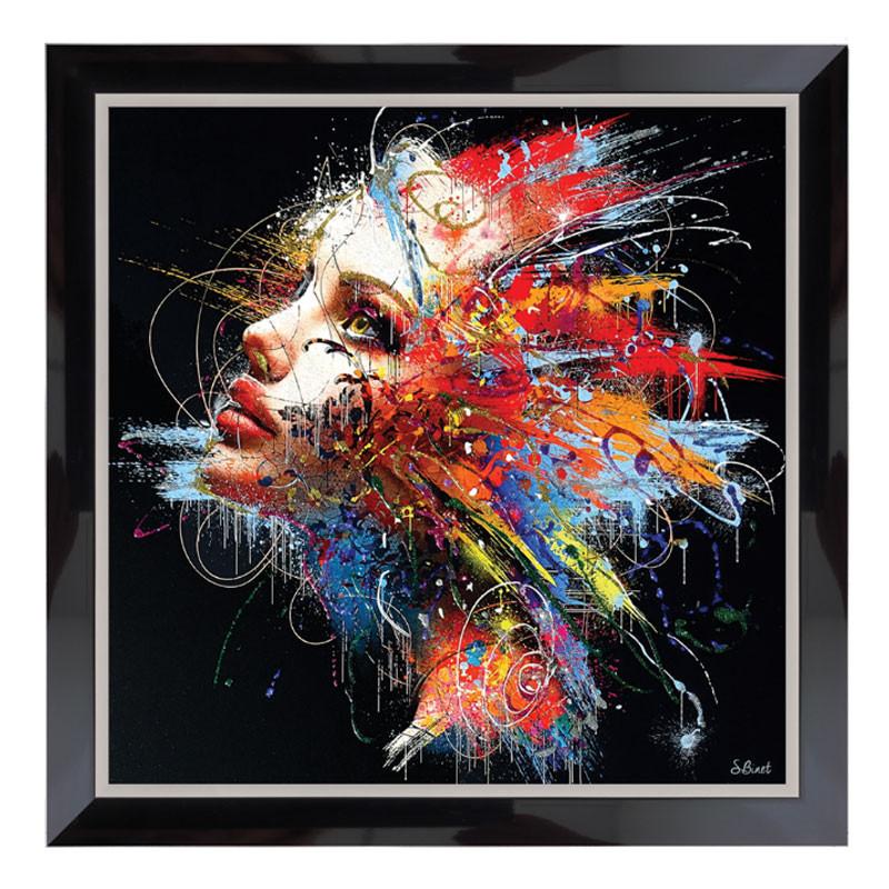 """"""" Femme éclatante de couleurs"""", Tableau design de Sylvain BINET,80x80"""