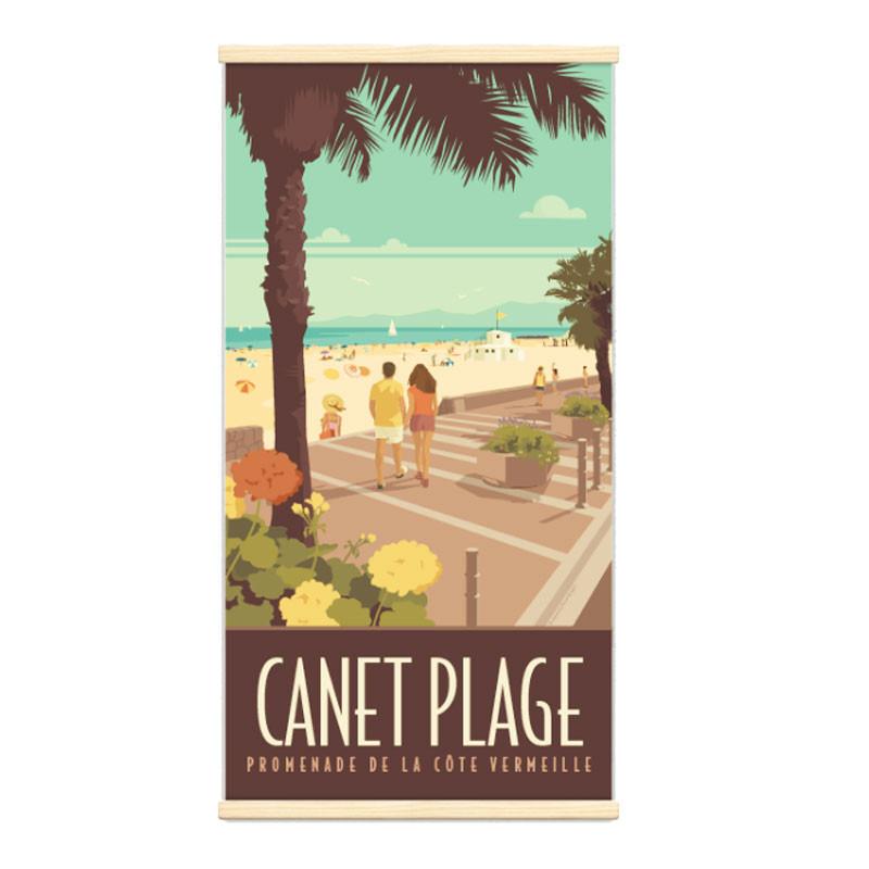 """Canet plage"", Kakémono Travel poster vintage"