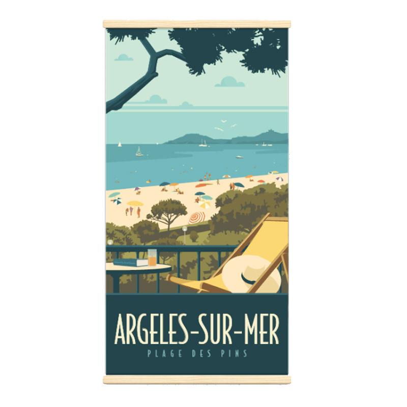 """""""Argelès sur mer"""", Kakémono Travel poster vintage"""
