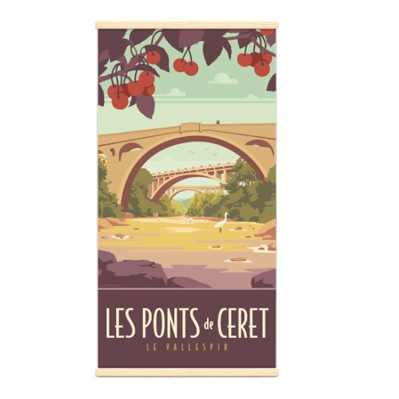 """Céret"", Kakémono Travel poster vintage"