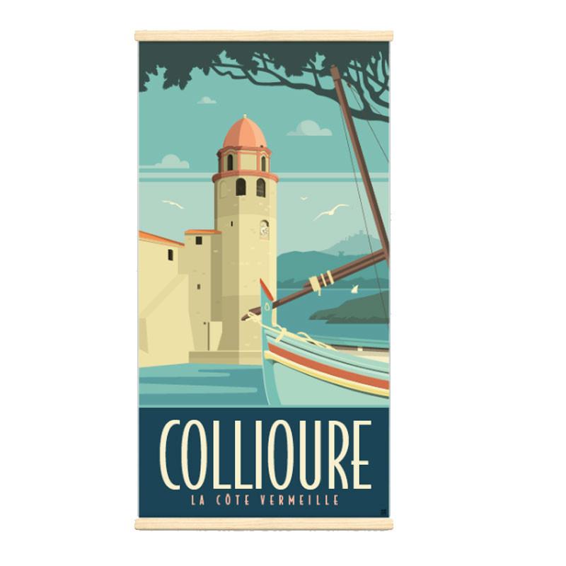 """""""Collioure"""", Kakémono Travel poster vintage"""