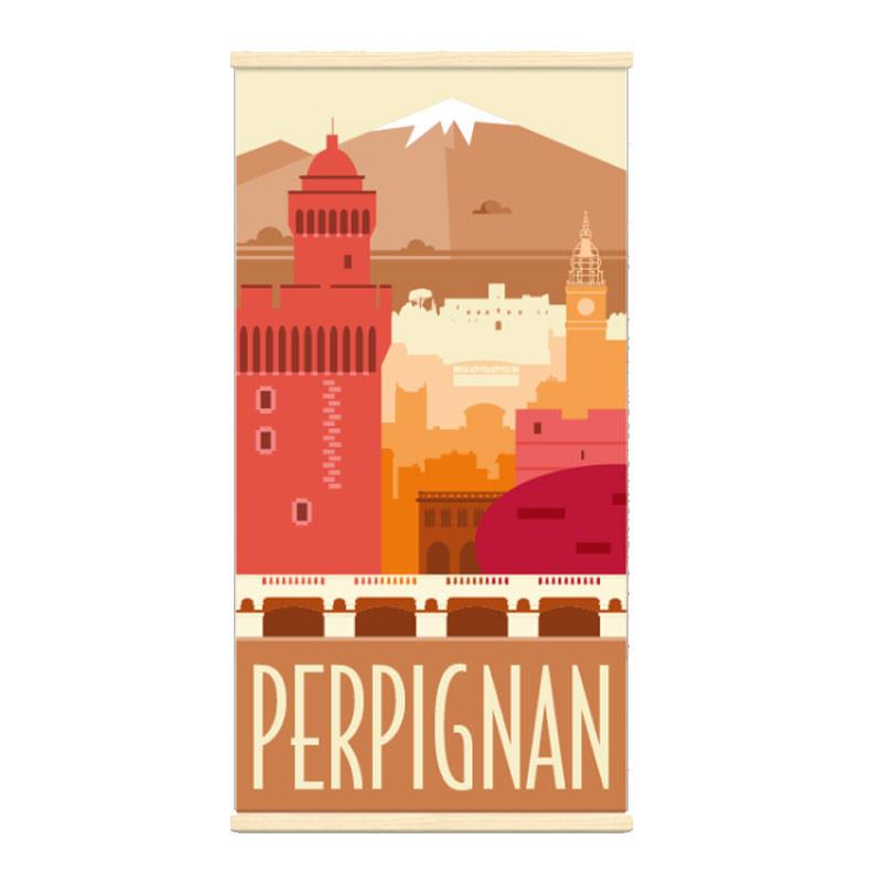 """PERPIGNAN"", Kakémono Travel poster vintage"
