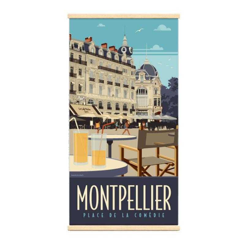 """"""" Montpellier, place de la comédie"""" Kakémono Travel poster vintage"""