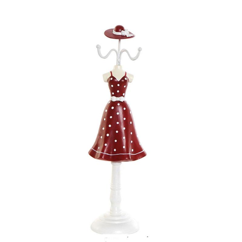 """"""" Robe rouge à pois blanc"""", Mannequin Porte-bijoux déco"""