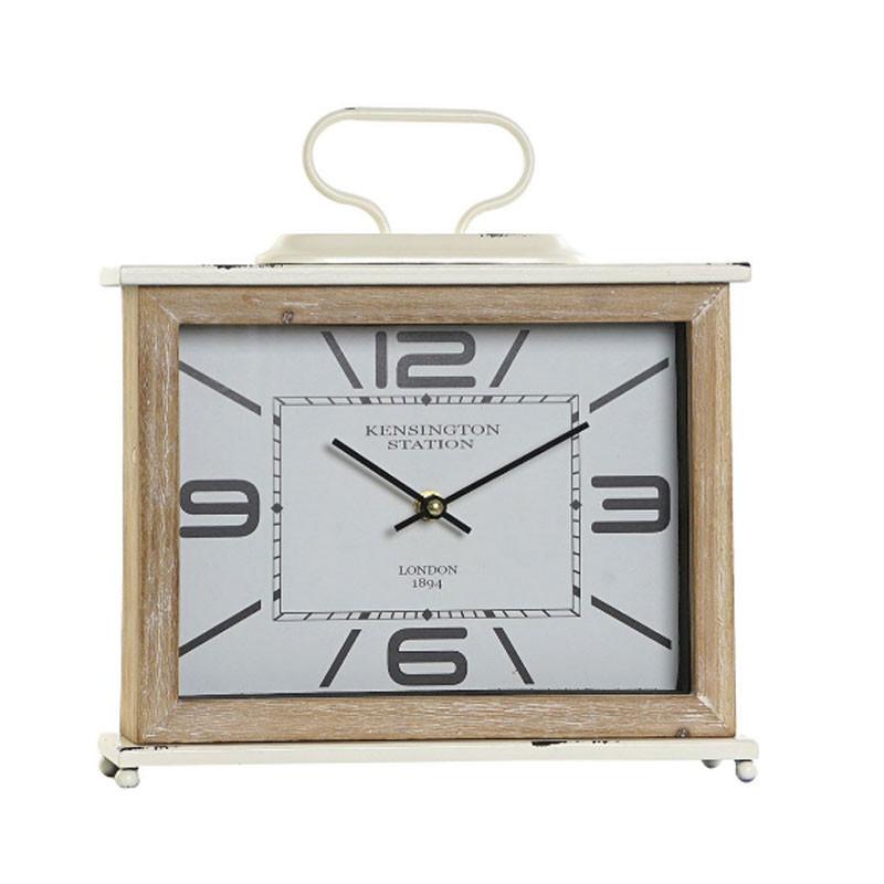 """""""Horloge rectangulaire rétro blanche"""", horloge design à poser"""
