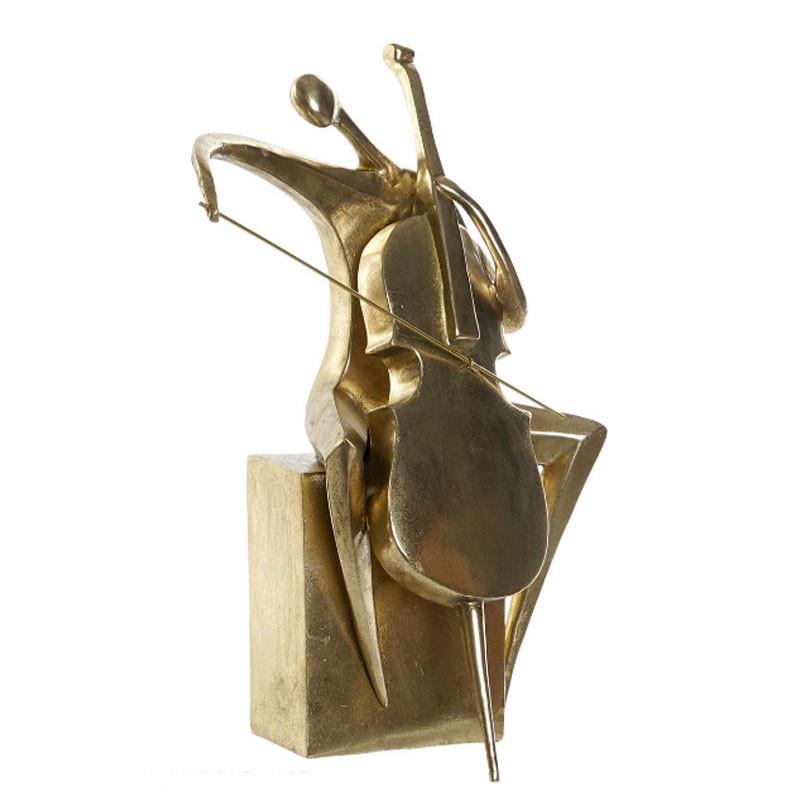 """""""Musicien contrebassiste assis"""", statuette déco design"""