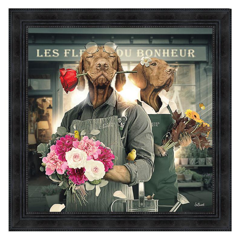""""""" Chiens fleuristes"""", 80x80cm, tableau design SYLVAIN BINET"""