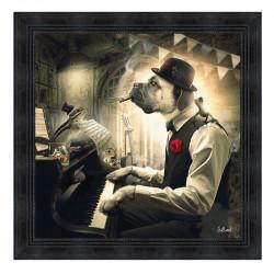""" Chien piano "", 80x80cm, tableau design SYLVAIN BINET"