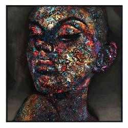 """"""" Visage femme pigment """", Tableau contemporain 100x100"""