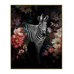 """"""" Zèbre décor fleuri """", Tableau contemporain tropical,40x50"""