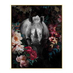 """ Rhinocéros décor fleuri "", Tableau contemporain tropical,40x50"