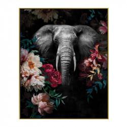 """"""" Eléphant décor fleuri """", Tableau contemporain tropical,40x50"""