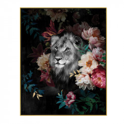 """ Lion décor fleuri "", Tableau contemporain tropical,40x50"