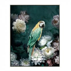 """ Perroquet vert et jaune"", Tableau contemporain 40x50"