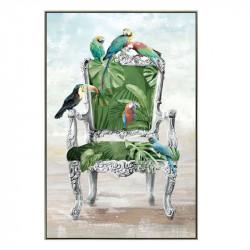 """"""" Fauteuil baroque et perroquets"""", tableau contemporain tropical, 80x120 cm"""