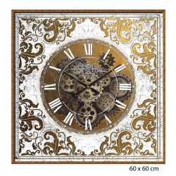 Horloge vintage baroque engrenages carrée, 60x60 cm