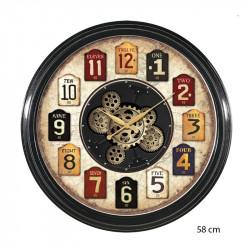 """Horloge murale design """" Etiquettes """", engrenages"""