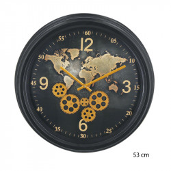 "horloge design "" mappemonde"", engrenages mobiles"