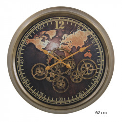 "Horloge design "" Mappemonde antique"", engrenages mobiles"