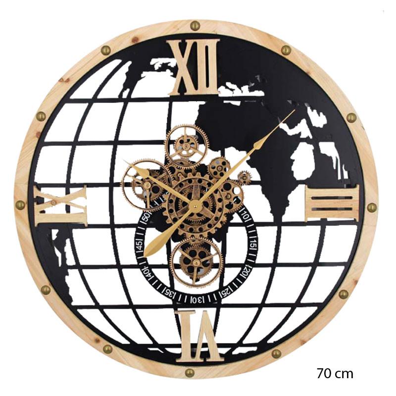 "Horloge murale design "" Globe terrestre "", engrenages mobiles"