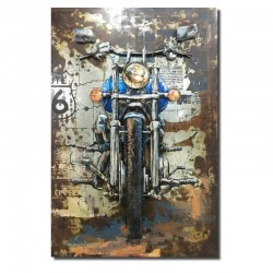 """"""" Moto bleue """", Tableau métal relief 3D, 80x120."""