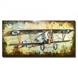 """"""" Avion bi-plan"""", tableau métal vintage 3D, 70x140 cm"""
