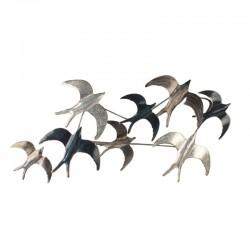 """"""" Envolée d'oiseaux """", déco murale métal nature"""