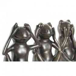 """"""" Le secret du bonheur, grenouilles argent """", statuette déco zen"""