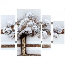 Tableau triptyque arbre 80x109 dégradé marrons.