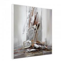Toile de peinture abstraite gris/argent 60x60