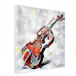 """"""" violoncelle """", Tableau contemporain musique, 80x80."""