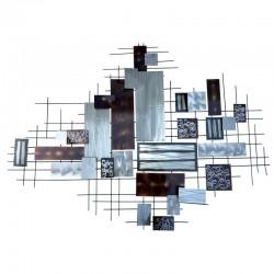 Déco murale métal rectangles argent et taupe