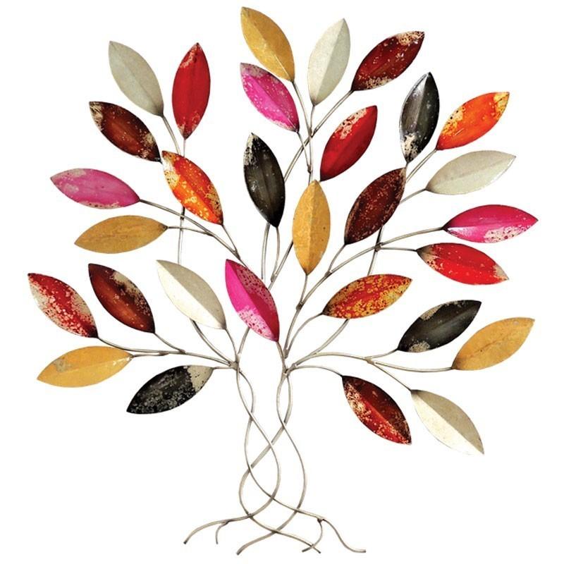 d co murale m tal arbre contemporain au feuillage multicolore vif. Black Bedroom Furniture Sets. Home Design Ideas
