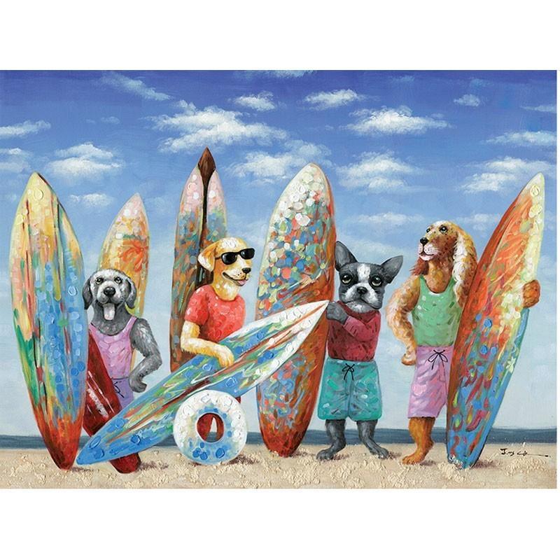 Tableau contemporain chiens surfeurs